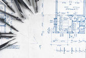 Construction plans with accessories — Stock Photo