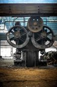 Large industrial hall with cogs — Stock Photo