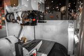 Steel cutter machine in factory — Stock Photo