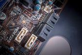 Computadora impresa placa base con puertos sata — Foto de Stock