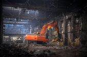 Industrial interior with bulldozer inside — Foto Stock