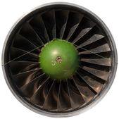 Closeup of a dark jet engine — 图库照片