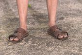 Feet of a sad farmer without crop — Stock Photo