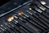 Make-up tools in een lederen tas — Stockfoto