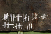 Counting with strikes on chalkboard — Stock Photo