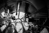 Interior of an old aircraft with control panel — Stock Photo