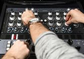 Hands on a sound mixer — Stock Photo