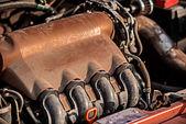 Closeup fotografia de um bloco de motor — Fotografia Stock