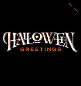 'Halloween Greetings' hand lettering (vector) — Stockvector
