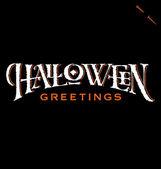 'Halloween Greetings' hand lettering (vector) — Stock Vector