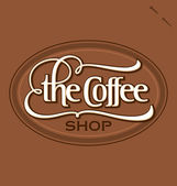 'The Coffee Shop' hand lettering (vector) — Vector de stock