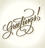 GREETINGS hand lettering (vector) — ストックベクタ