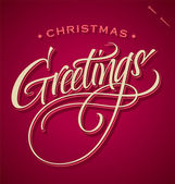 CHRISTMAS GREETINGS hand lettering (vector) — 图库矢量图片