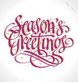 SEASON'S GREETINGS hand lettering (vector) — ストックベクタ