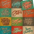 Set of 12 Christmas retro cards, vector. — Stock Vector #16288673