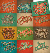 Set of 12 Christmas retro cards, vector. — Stock Vector