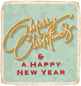 Hand-lettered Christmas card (vector) — Vector de stock