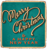 Hand-lettered vintage Christmas card (vector) — Vector de stock