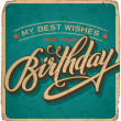 Hand-lettered vintage birthday card (vector) - Stok Vektör