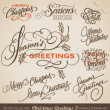 CHRISTMAS GREETINGS hand lettering set (vector) — Stockvectorbeeld
