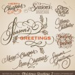 CHRISTMAS GREETINGS hand lettering set (vector) — Imagen vectorial