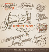 CHRISTMAS GREETINGS hand lettering set (vector) — Wektor stockowy