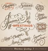 CHRISTMAS GREETINGS hand lettering set (vector) — Stockvector