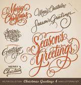 CHRISTMAS GREETINGS hand lettering set (vector) — Stok Vektör