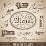 Menu hand lettered headlines set (vector) — Stock Vector #9446158