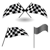 Set of checkered Flags. Vector Illustration. — Stock Photo