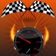 Checkered flag, speedometer. Vector Illustration. — Zdjęcie stockowe