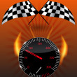 Checkered flag, speedometer. Vector Illustration. — Stok fotoğraf
