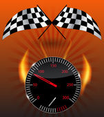 Checkered flag, speedometer. Vector Illustration. — Stock Photo