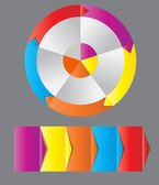 Koncepcja kolorowy okrągły banerów z strzałki dla różnych b — Zdjęcie stockowe