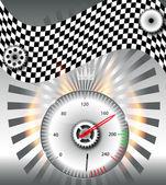 Geruite vlag, snelheidsmeter. vectorillustratie. — Stockfoto