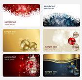 Conjunto de cartões com bolas de natal, estrelas e flocos de neve, ilustr — Foto Stock