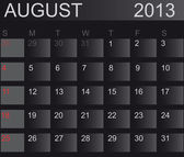 Calendar 2013. August. Vector Illustration — Stock Photo
