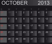Calendar 2013. Vector IllustrationCalendar 2013. October. Vector — Stock Photo