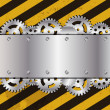 Metal frame on grunge striped cunstruction background vector ill — Stock Photo