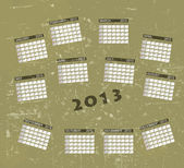 Calendar 2013 vintage retro vector illustration background. — Stock Photo