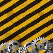 Grunge striped cunstruction background  and gears vector illustr — Stock Photo