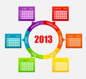 Calendar 2013. Part 1. Vector Illustration — Stock Photo