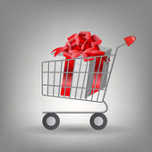 Shoping cart with Christmas gifts. Vector illustration — Stock Photo