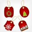 Set of Christmas stickers vector illustration — Stock Vector