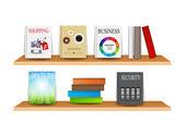 Bookshelf with books vector illustration — Cтоковый вектор