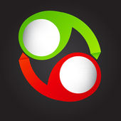 異なる b の矢印の付いたカラフルな円形バナーの概念 — ストックベクタ