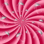 Jordgubbar, grädde abstrakt hypnotisk bakgrund. vektor nedanstående — Stockvektor