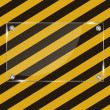 Glass frame on grunge striped cunstruction background vector ill — Stockvektor