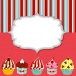 Cupcake invitation card vector illustration — ストックベクター #13782556