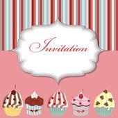 Illustrazione vettoriale di cupcake invito carta — Vettoriale Stock